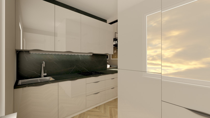 Biały połysk na meblach w kuchni