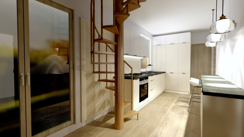 Projekt kuchni ze schodami