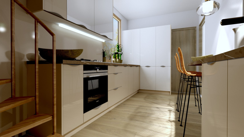 Projekt kuchni w zabudowie z oknem nad blatem