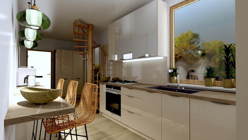 Projekt kuchni z blatem zamontowanym do ściany