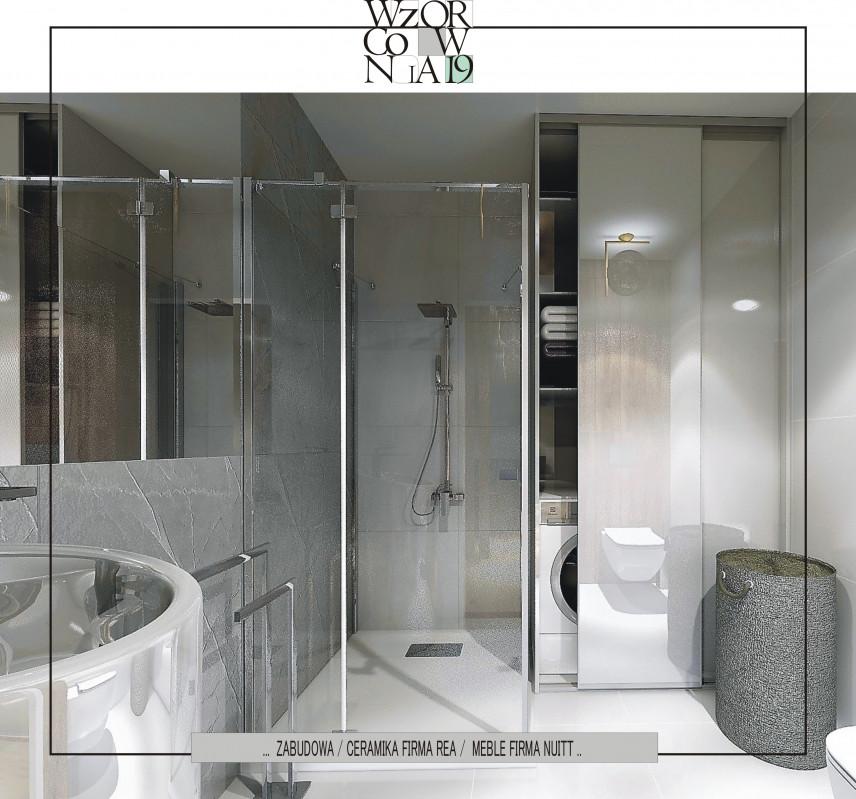 Projekt łazienki z szarymi płytkami