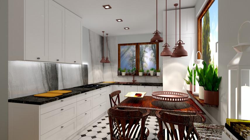 Projekt kuchni z brązowymi lampami wiszącymi