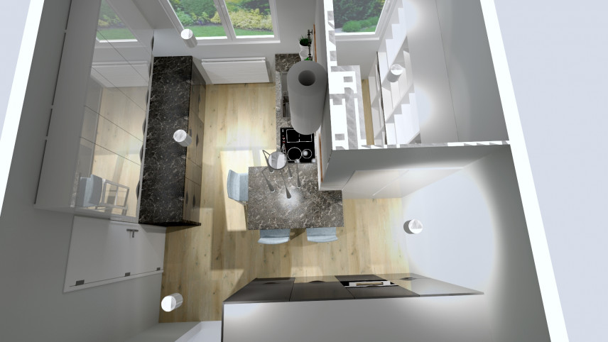 Projekt kuchni z oknem od góry