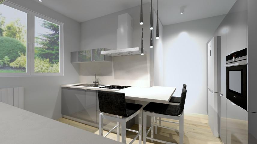 Projekt małej kuchni w zabudowie z oknem i barem