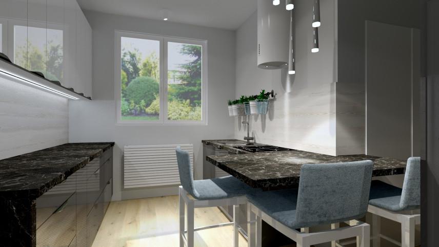 Projekt małej kuchni z oknem i grafitowym blatem kuchennym