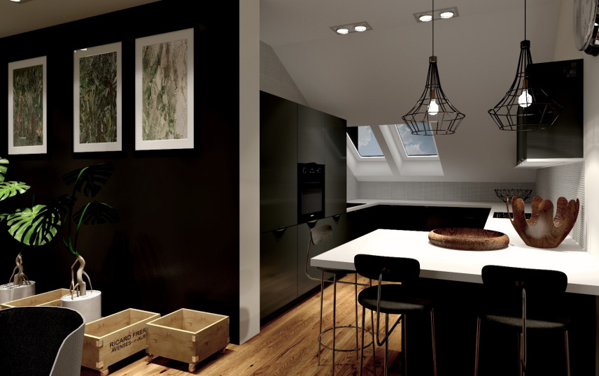 Projekt salonu i kuchni na poddaszu
