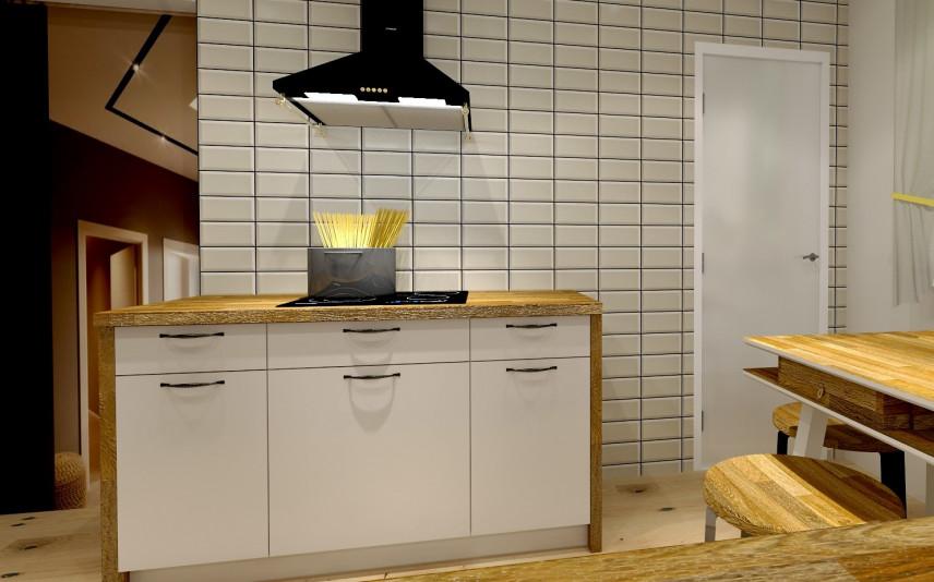 Projekt kuchni z białymi, wąskimi płytkami na całej ścianie