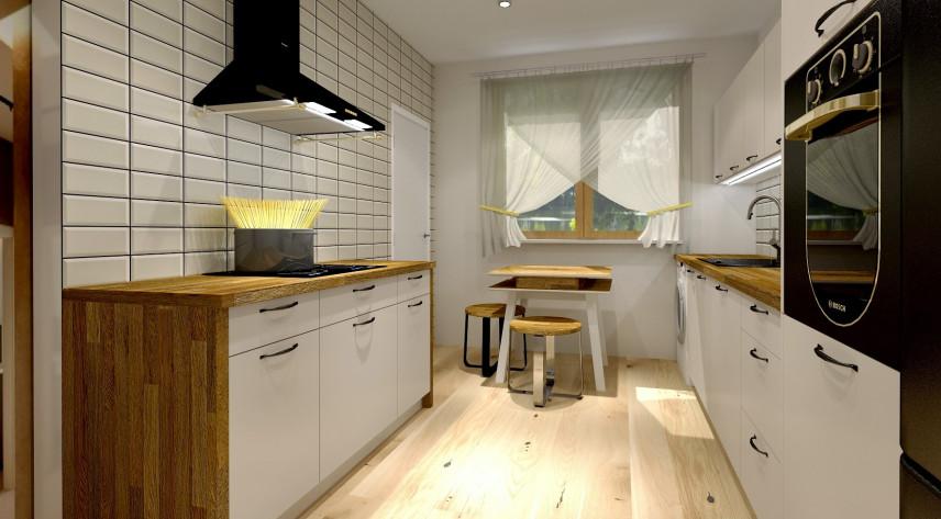 Projekt kuchni z drewnianym blatem i czarnym okapem