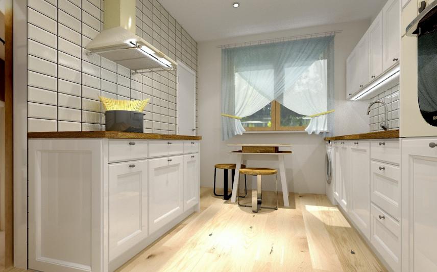 Projekt kuchni z białymi, wąskimi kafelkami na ścianie