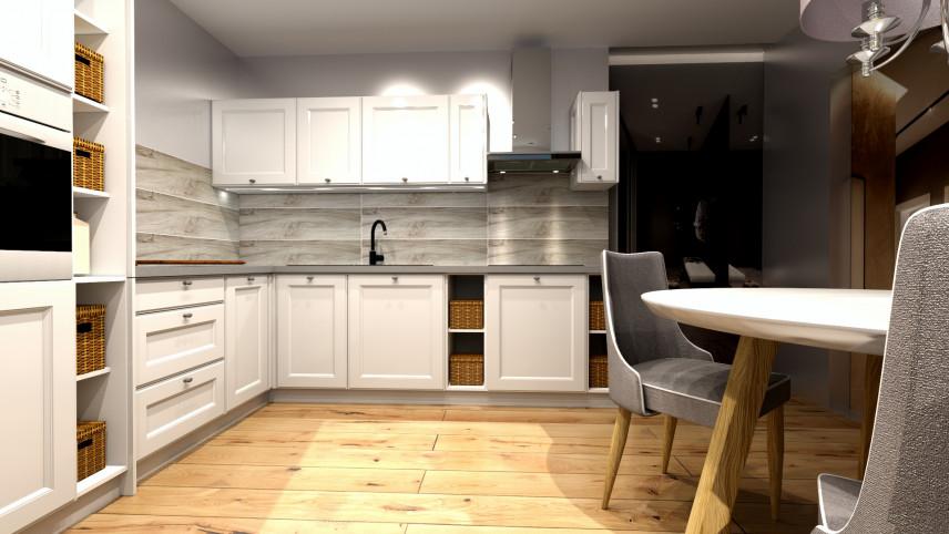 Projekt kuchni z drewnianą podłogą