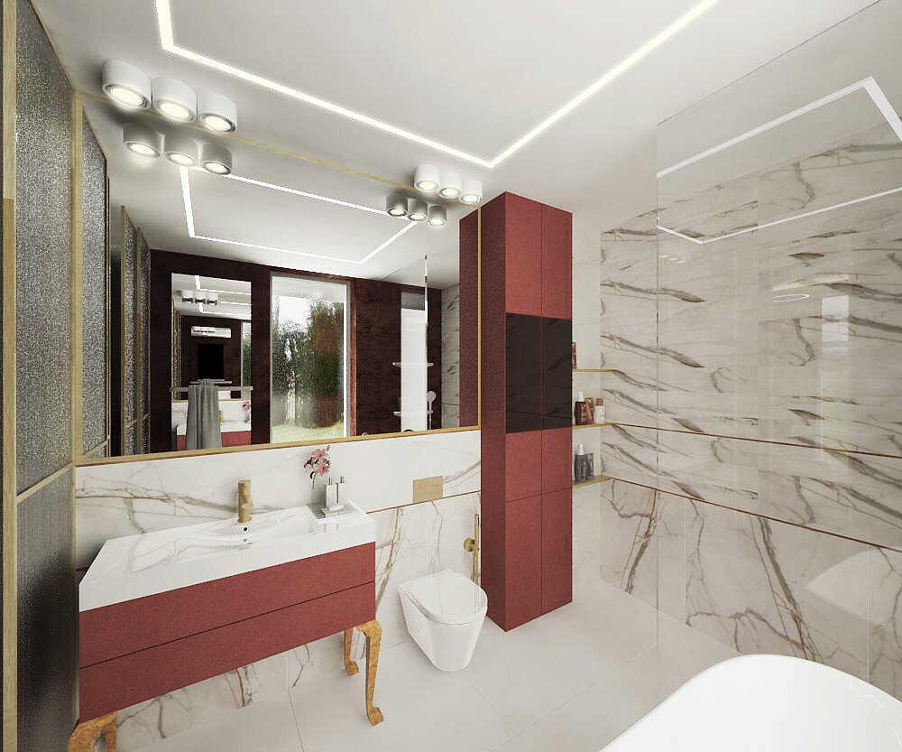 Projekt łazienki ze stylowymi meblami w kolorze bordo