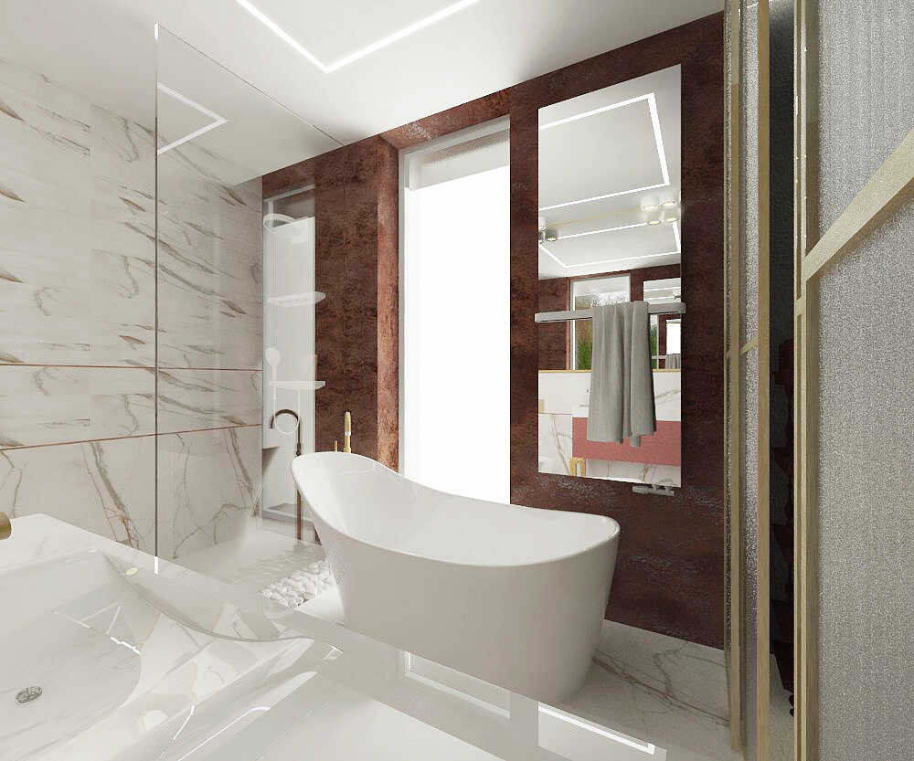 Projekt łazienki z wanną owalną