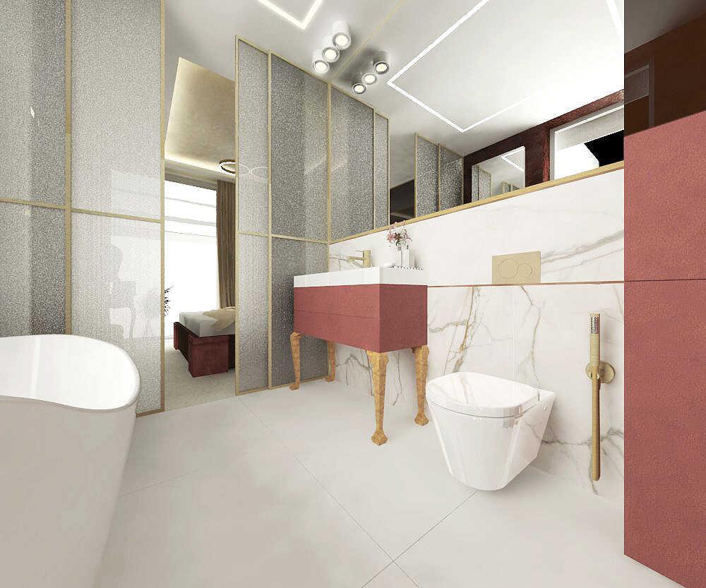 Projekt łazienki z przesuwanymi drzwiami