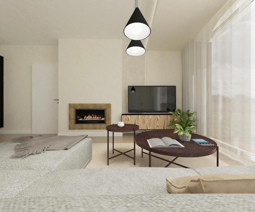 Projekt salonu w nowoczesnym stylu.