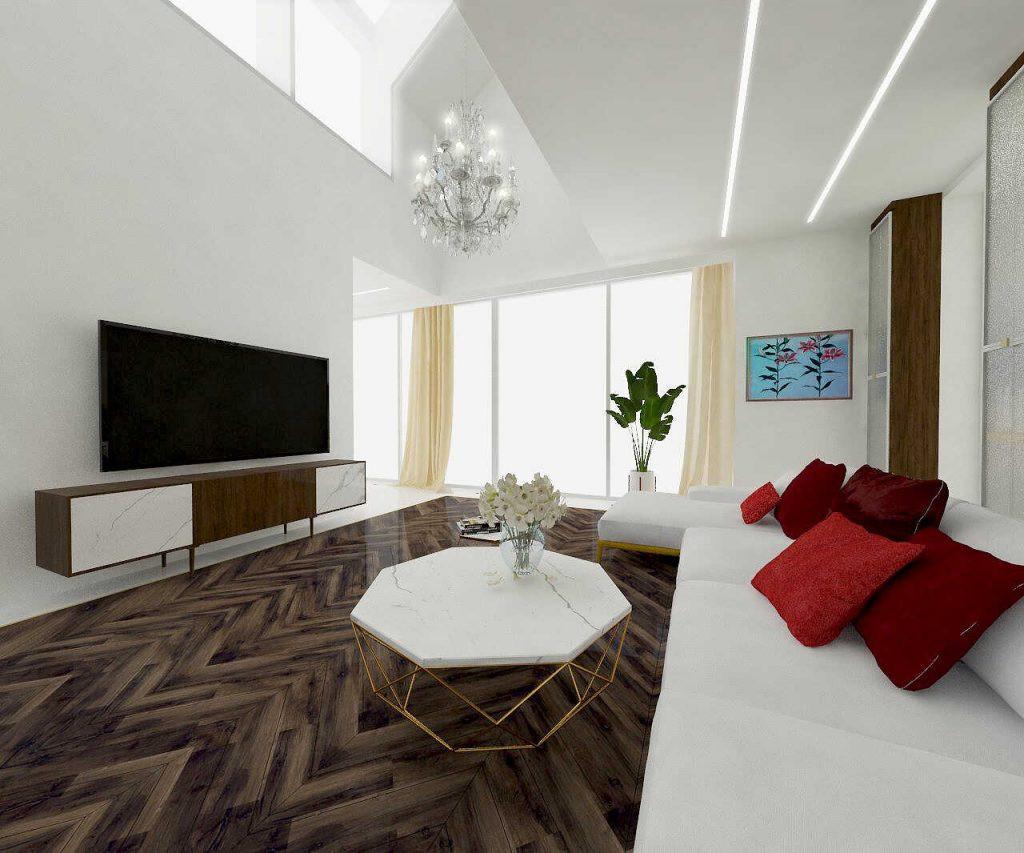 Projekt salonu ze stolikiem w stylu glamour
