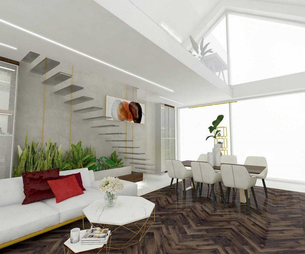 Projekt salonu z betonem dekoracyjnym na ścianie