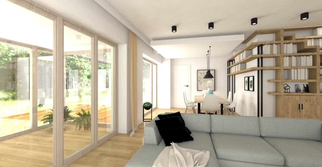 Projekt salonu z półkami na ścianie