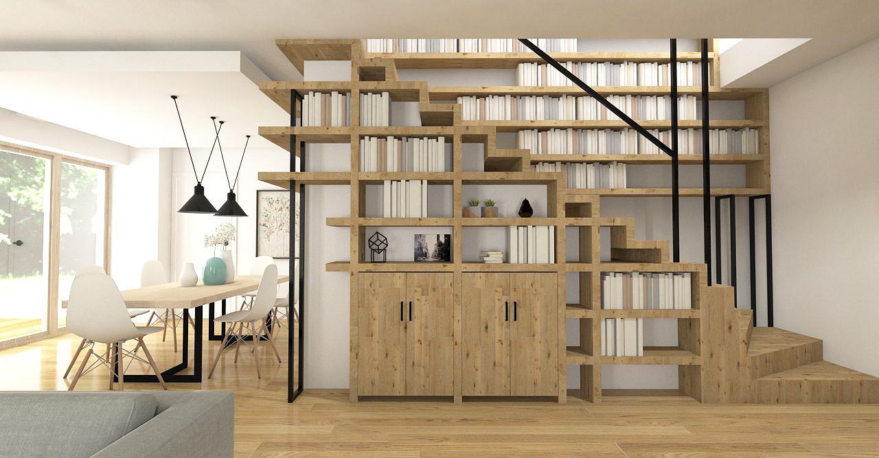 Projekt biblioteczki na ścianie