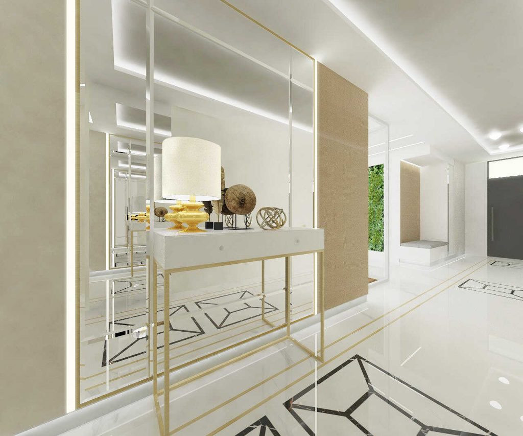 Aranżacja białego korytarza