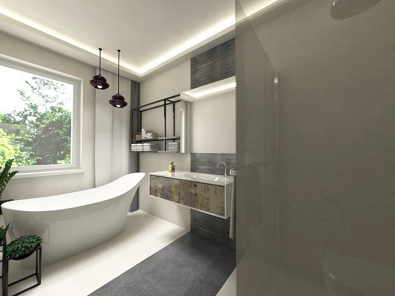 Projekt łazienki z oświetleniem sufitowym Led.