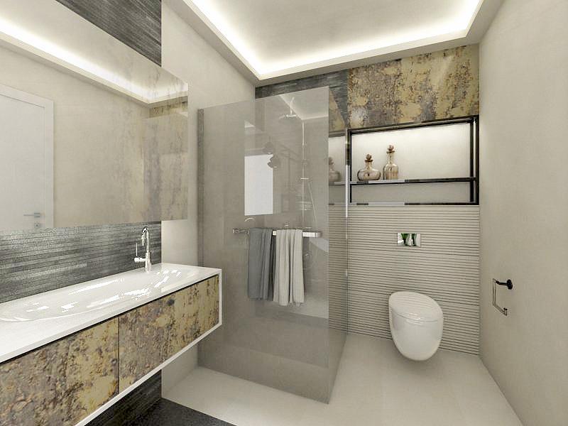 Projekt łazienki z szafką wiszącą