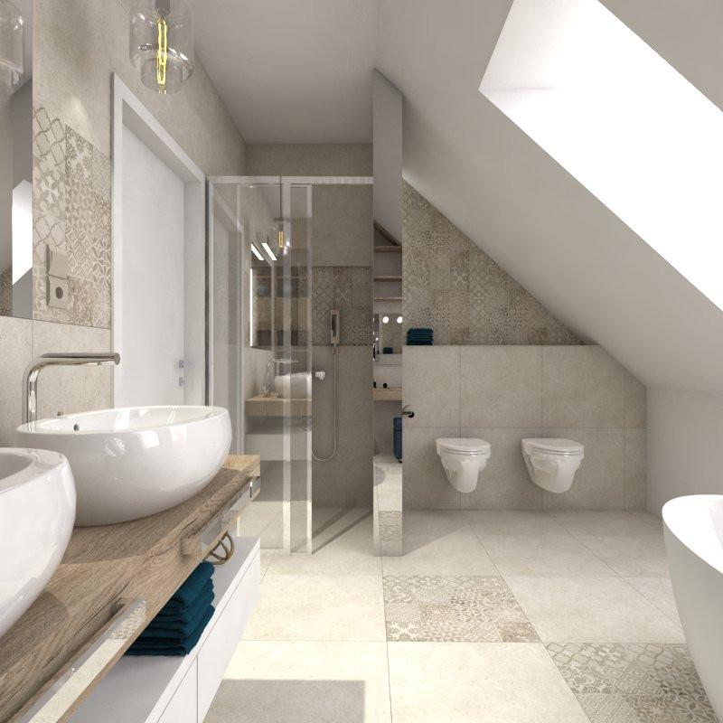 Projekt łazienki na poddaszu