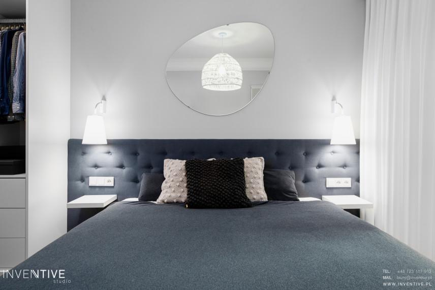 Biało- szara sypialnia