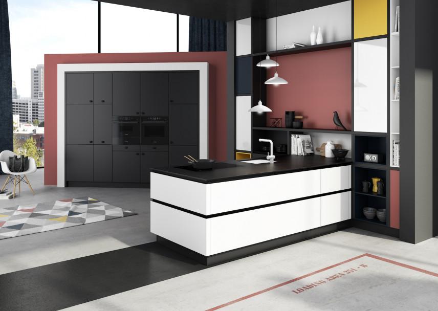 Designerska kuchnia w stylu Mondriana