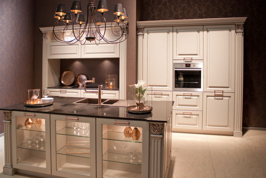 Klasyczna biała kuchnia frontami 3d