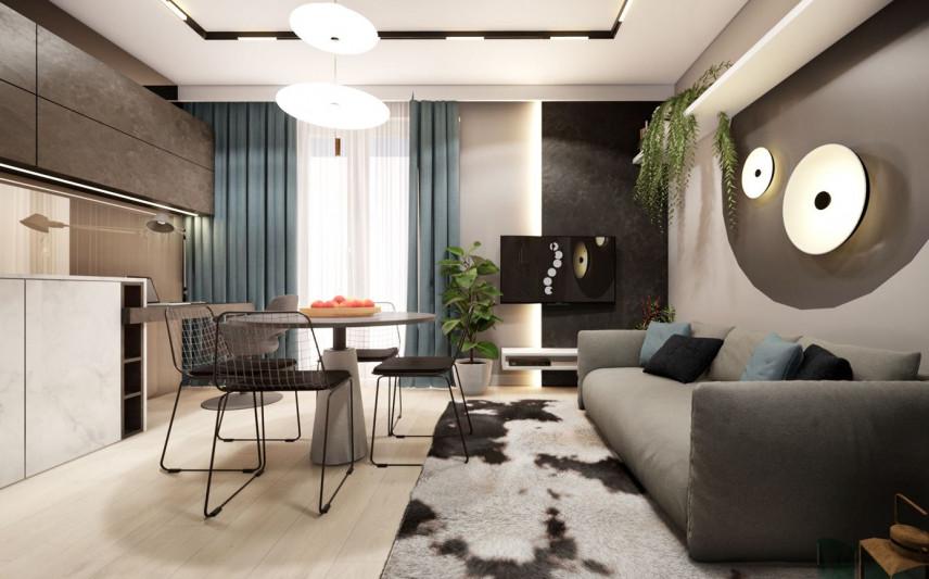Mały nowoczesny salon z dywanem