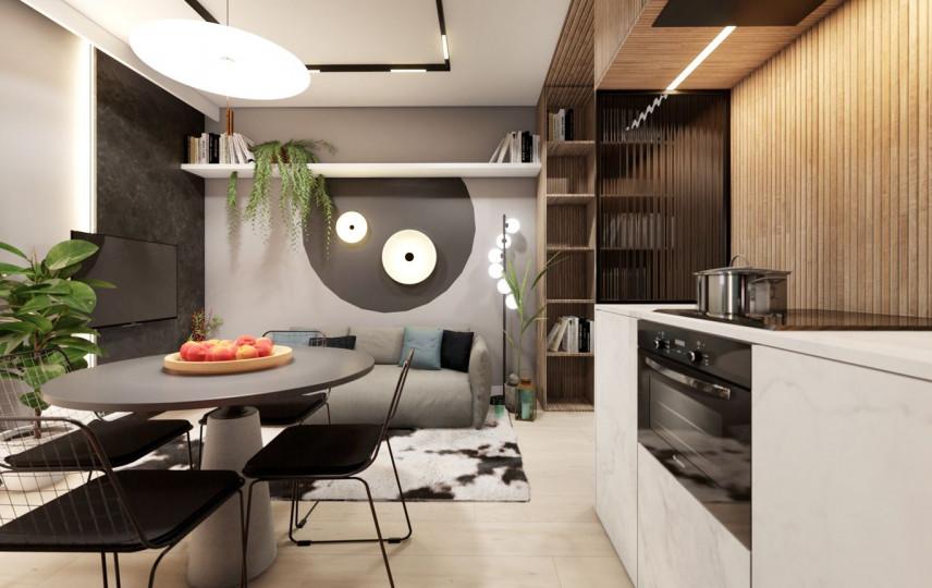 Kuchnia i jadalnia połączone z małym salonem