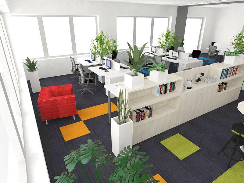 Biuro z białymi meblami