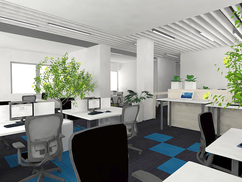 Projekt biura z dużą ilością roślin