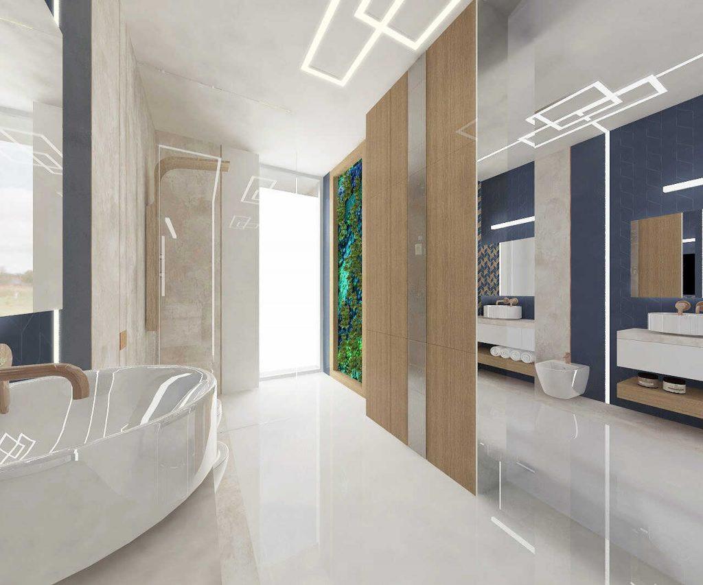 Projekt łazienki w stylu marynistycznym
