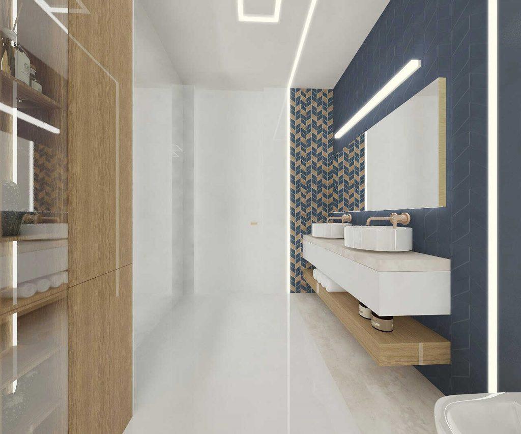 Projekt łazienki ze zlewami nablatowymi