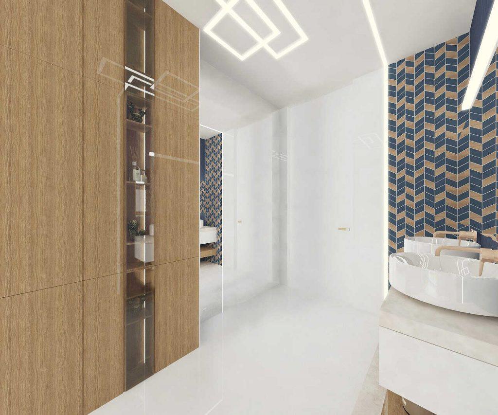 Projekt łazienki z szafą