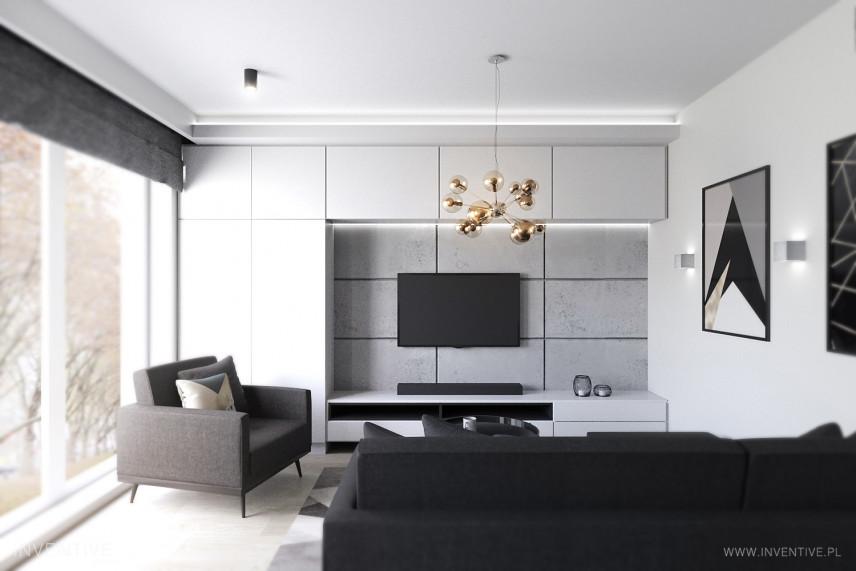 Nowoczesny salon w kolorze czarno-białym