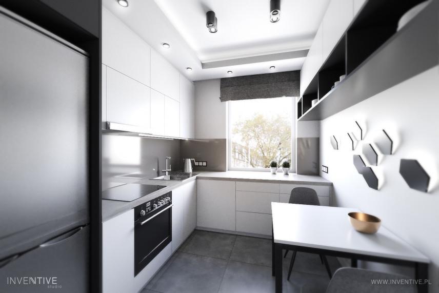 Mała kuchnia w kolorze szaro-białym
