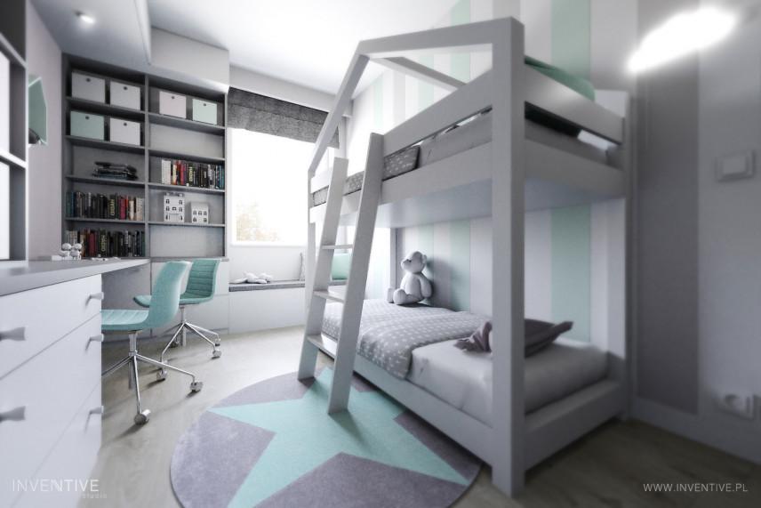 Jasny pokój dziecięcy z piętrowym łóżkiem