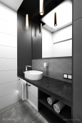 Nowoczesna łazienka w kolorze biało-czarno-szarym