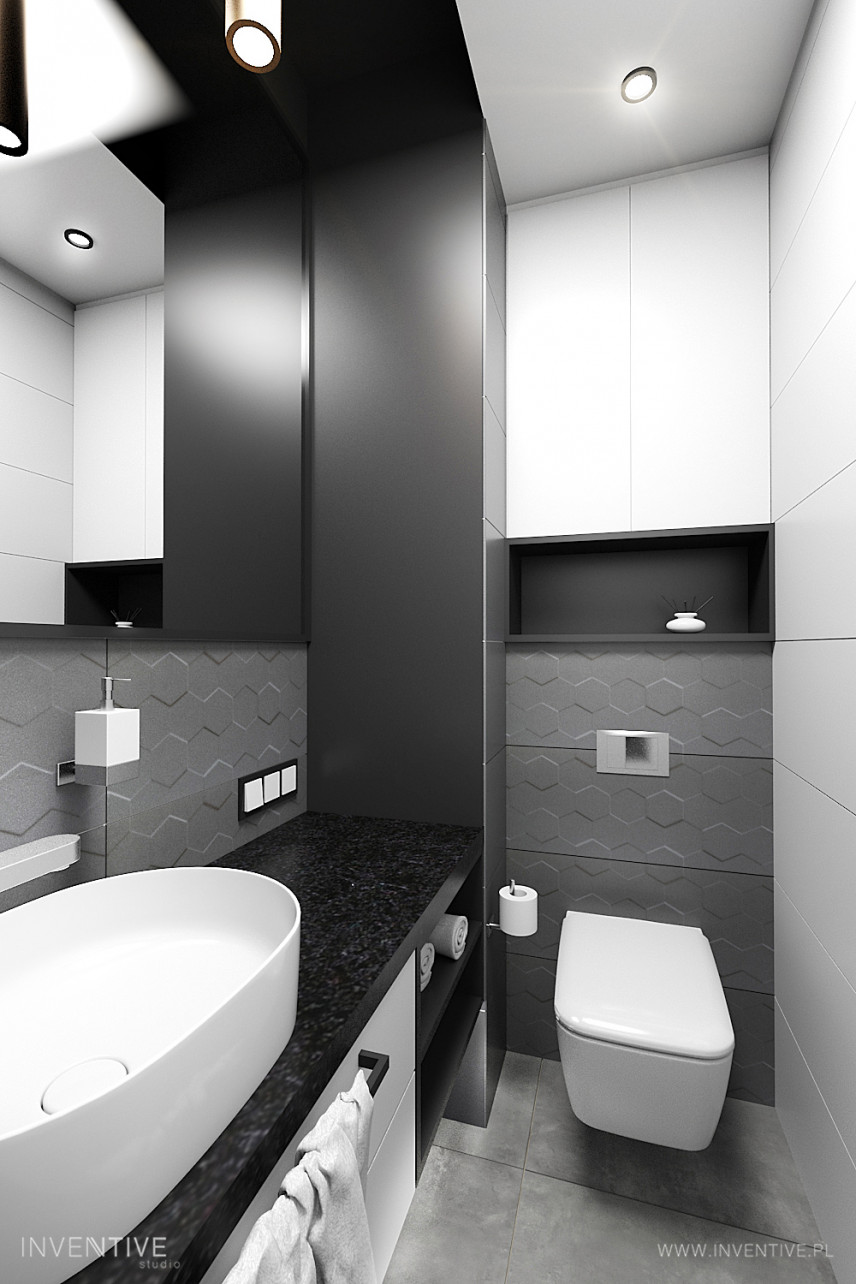 Wąska łazienka w kolorze czarno-białym