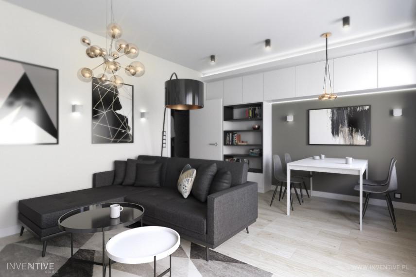 Designerski salon w kolorze czarno-białym