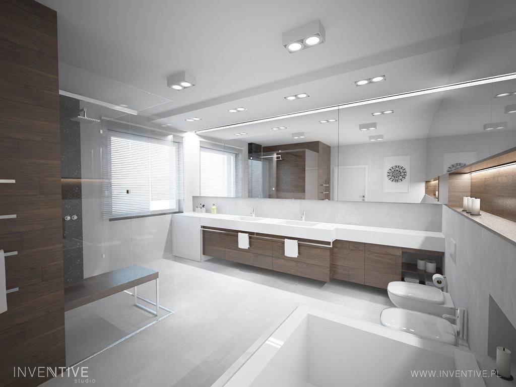 Nowoczesna łazienka w bieli i brązach