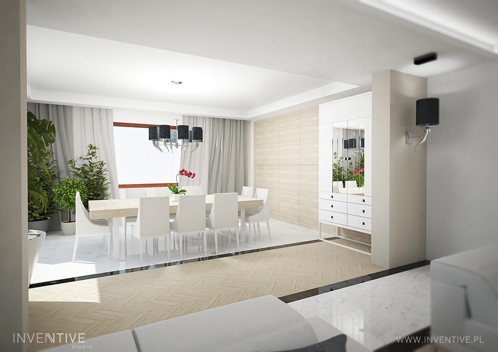 Przestronny, jasny salon w stylu Art Deco