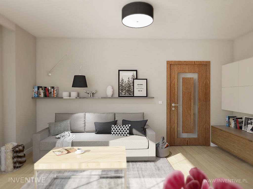 Mały salon z szarą kanapą i dywanem