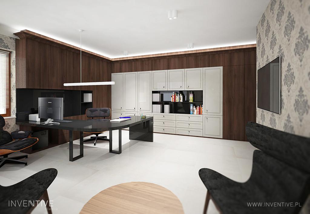 Designerski gabinet ze stylowym biurkiem