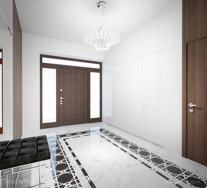 Stylowy korytarz z żyrandolem