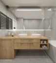 Łazienka z drewnianą szafką stojącą