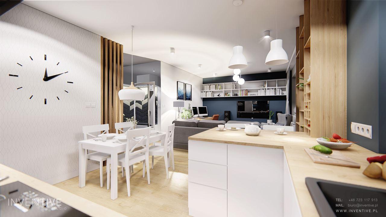 Kuchnia w stylu skandynawskim z niebieska ścianą