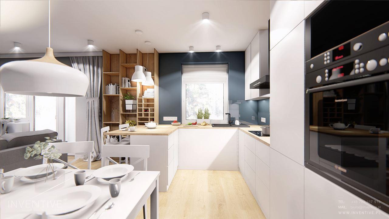 Biała kuchnia w stylu skandynawskim z drewnianą podłogą